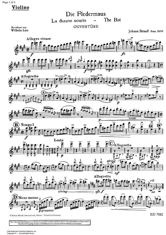 die Fledermaus, the Bat, il pipistrello (ouverture)
