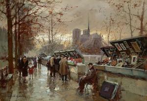 Edouard Leon Cortes (1882 - 1969)Bouquinistes de Notre-Dame