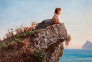 Filippo Palizzi, Fanciulla sulla roccia a Sorrento, (1871)