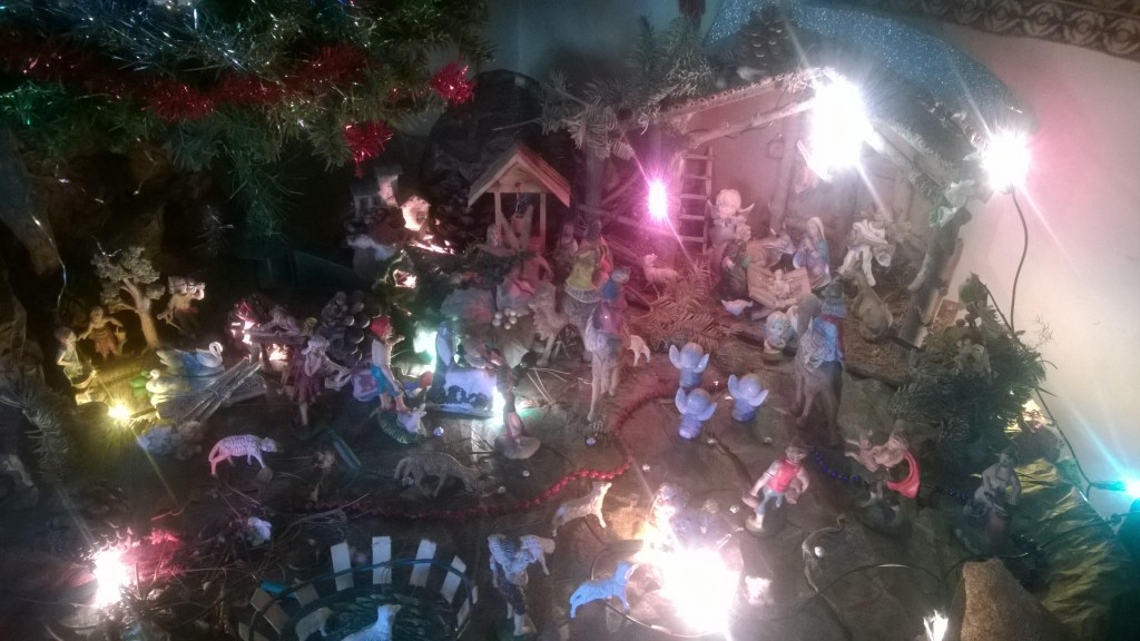 manger scene, Christmas creche, Christmas crib, presepio : Child arrived and Magi to His presence