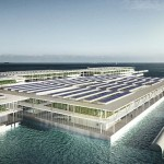 vertical farming Una raffigurazione del possibile aspetto di una fattoria galleggiante smart vista dall'esterno. Fonte: Forward Thinking Architecture.