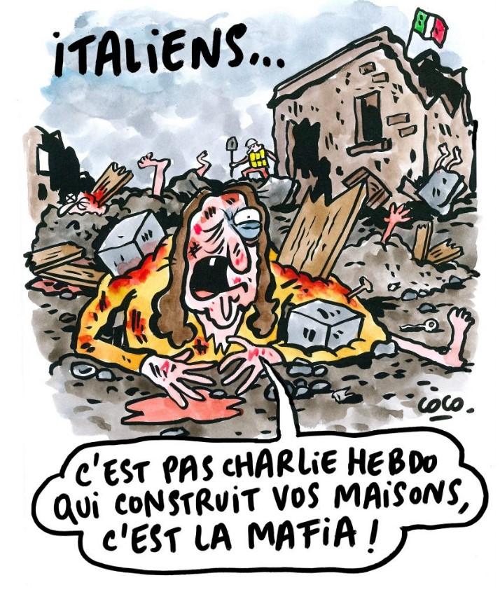 Charlie Hebdo on Italian earthquake and mafia