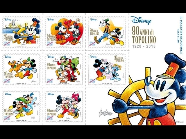 francobolli disegnati da Cavazzano per i novant'anni di Topolino
