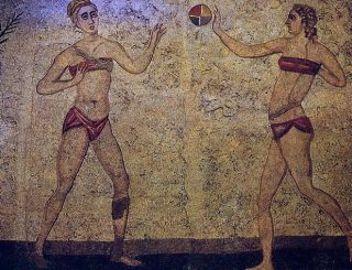 Roman mosaic with volleyball players in bikini
