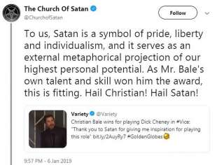 the church of satan on Christian Bale
