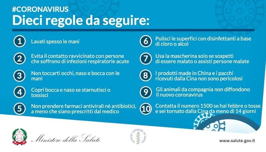 Coronavirus Covid 19, regole dal Ministero