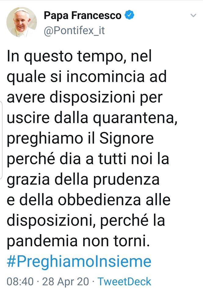 papa Francesco su Covid e provvedimenti del Governo